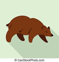 Brown bear icon, flat style