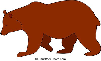 Brown bear, illustration, vector on white background.