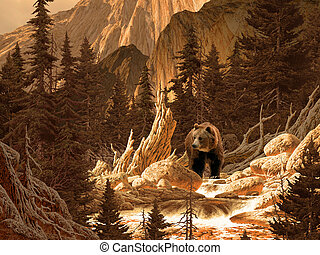 Brown Bear - Image from an original 18x24 painting of a...