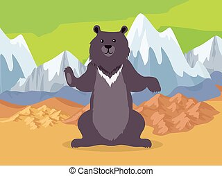 Brown Bear in Asia Mountains Icon. Vector