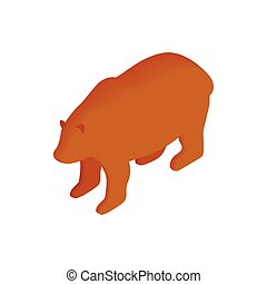 Brown bear isometric 3d icon