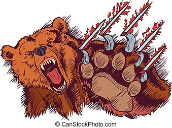 Brown Bear Mascot Slashing or Clawing Vector Cartoon -...