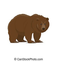 Brown bear or grizzly animal icon of wild predator