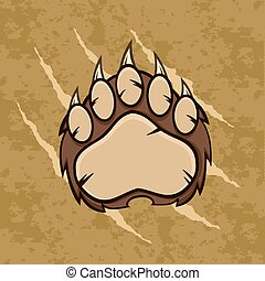 Brown Bear Paw Grunge Background