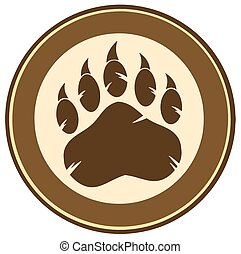 Bear Paw Print Circle Label Design