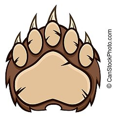 Brown Bear Paw With Claws. Illustration Isolated On White