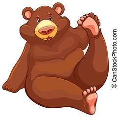 Brown bear sitting down - One brown bear sitting down on a...