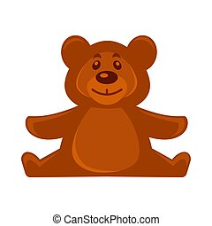Brown bear soft toy - Vector illustration of small brown...