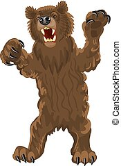 Brown bear stands on its hind legs. Bear with open mouth, fangs and large claws. Snarling, aggressive grizzly bear vector illustration on a white background.