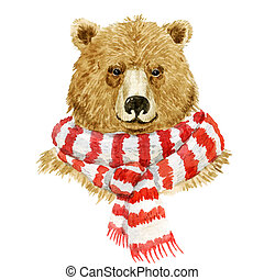 Brown bear wearing a scarf - Beautiful watercolor brown bear...