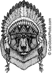 Brown bear Wild animal wearing inidan headdress with...