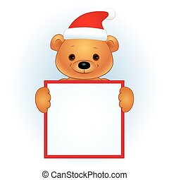brown bear with a blank banner Christmas