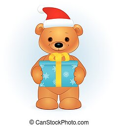 brown bear with a gift box Christmas