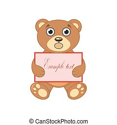 brown bear with a sign on white background