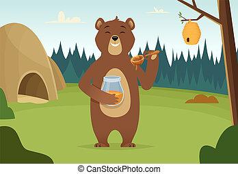 Brown bear with honey vector cartoon background