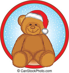 Brown Bear With Red Santa Hat