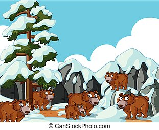 Brown bears in snow mountain