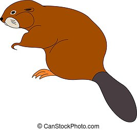 Brown beaver, illustration, vector on white background.