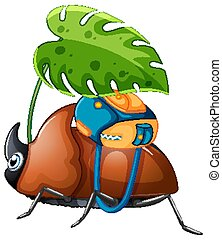 Brown beetle holding green leaf on white background