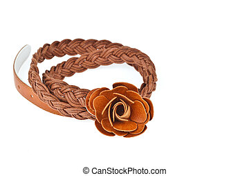 brown belt on white background