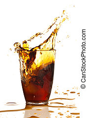 brown beverage splash on a white background