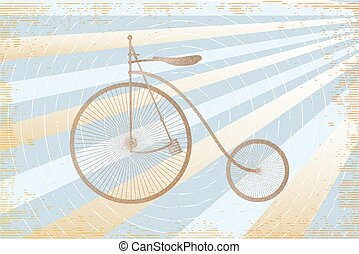 brown bicycle illustration in stippling retro style on stripes background made in light blue and light yellow colors