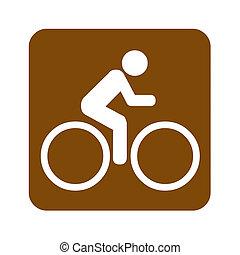 Brown bike recreational sign