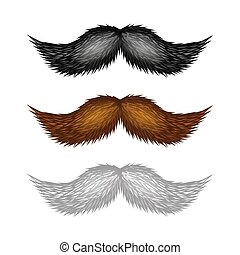 Brown, Black and White Isolated Mustaches Set. Vector