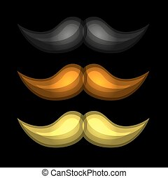 Brown, Black and Yellow Isolated Glossy Mustaches Set. Vector
