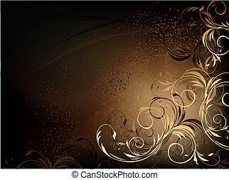 Brown Black Floral Backdrop