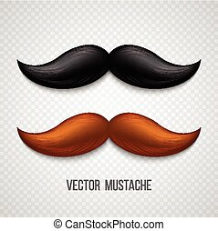 Brown, black  isolated mustaches set. Vector illustration
