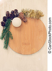 brown board with Christmas decoration on white background