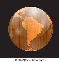 Brown boards World Map Vector Illustration