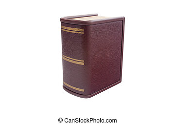 Brown book with golden stripes isolated on white background