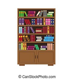 Brown bookcase with books.