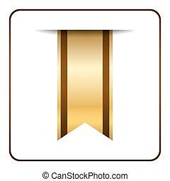 Brown bookmark banner gold tag