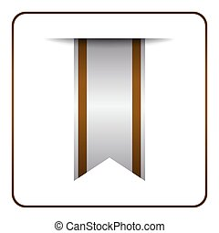 Brown bookmark banner isolated