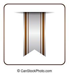 Brown bookmark banner symbol