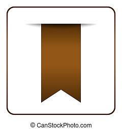 Brown bookmark symbol