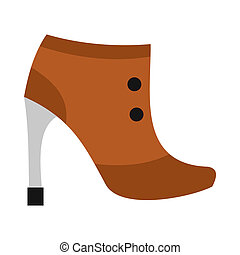 Brown boot with high heel icon, flat style