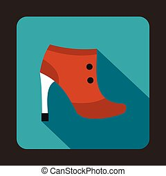 Brown boot with high heels icon in flat style