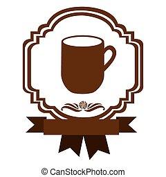 brown border heraldic decorative ribbon with big mug with handle