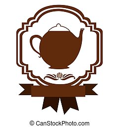 brown border heraldic decorative ribbon with teapot