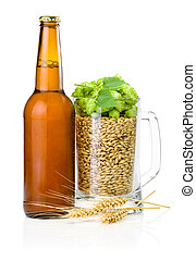 Brown bottle of beer, Mug full of barley and hops, Wheat ears isolated on white background