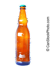 brown bottle with cap isolated on white