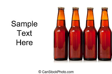 Brown bottles of beer on a white background with copy space