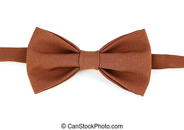 Brown bow tie on a white background