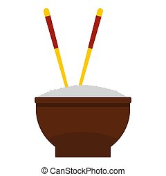 Brown bowl of rice with pair of chopsticks icon