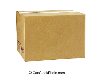 brown box - brown cardbox with clipping path