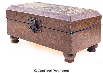 Brown Box - Brown closed wood jewerly box upper diagonal...